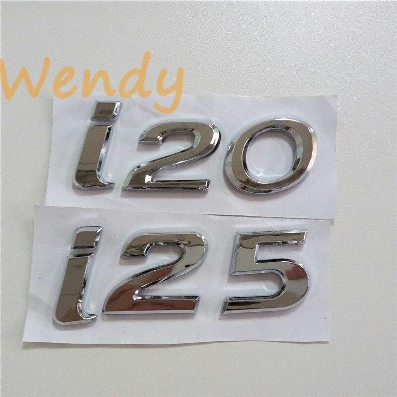 Prix pour I20 I25 Voiture Emblème Pour Hyundai i20 i25 3D Queue Badge queue Autocollant Decal ABS Chrome Arrière Logo Tronc Lettre Plaque Signalétique Auto style