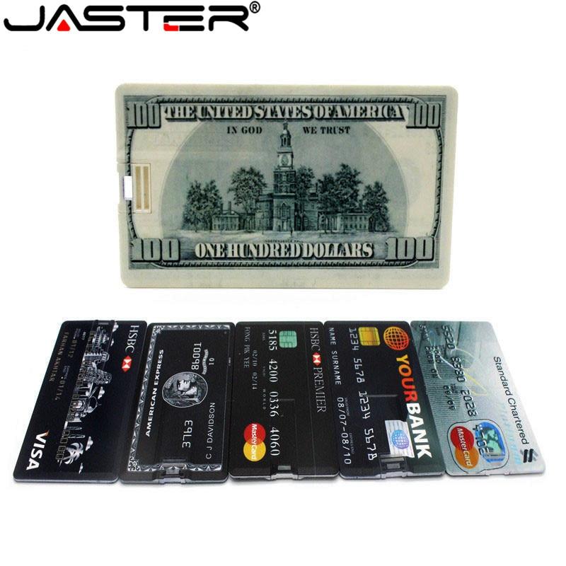 JASTER Hot Fashion Creative Cartoon USB Flash Drive 2.0 4GB/8GB/16GB/32GB/64GB Bank Card Usb Memory Stick