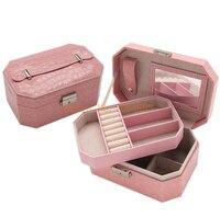 Creativo portátil de cuero de lujo de la joyería octagonal corea joyas caja de almacenamiento de cocodrilo patrón de múltiples capas caja de regalo de boda