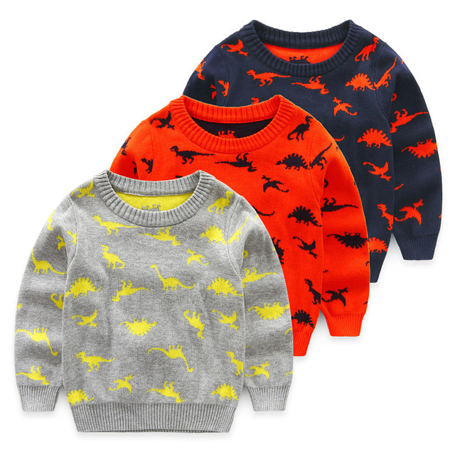 2016 осень зима детей свитер с длинным рукавом мальчики свитера хлопка ребенок мультфильм динозавра дети верхняя одежда для 0-3 года 3 цвет