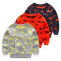 2016 otoño invierno suéter de los niños de los muchachos de la manga larga suéteres de algodón niño de dibujos animados dinosaurio niños ropa exterior para 0-3 año 3 color