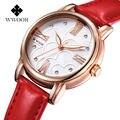 2016 Nueva Marca de Lujo WWOOR Reloj Mujeres Reloj de Cuarzo de Cuero Rojo Genuino Partido de Las Señoras Relojes de Oro WistWatches Diseñador de moda