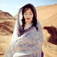 Retro cao nguyên gió quốc gia chiếc khăn dài và khăn choàng cá nhân hóa nhân vật Pattern Voile kết thúc tốt đẹp thương hiệu nổi tiếng Bufandas echarpe