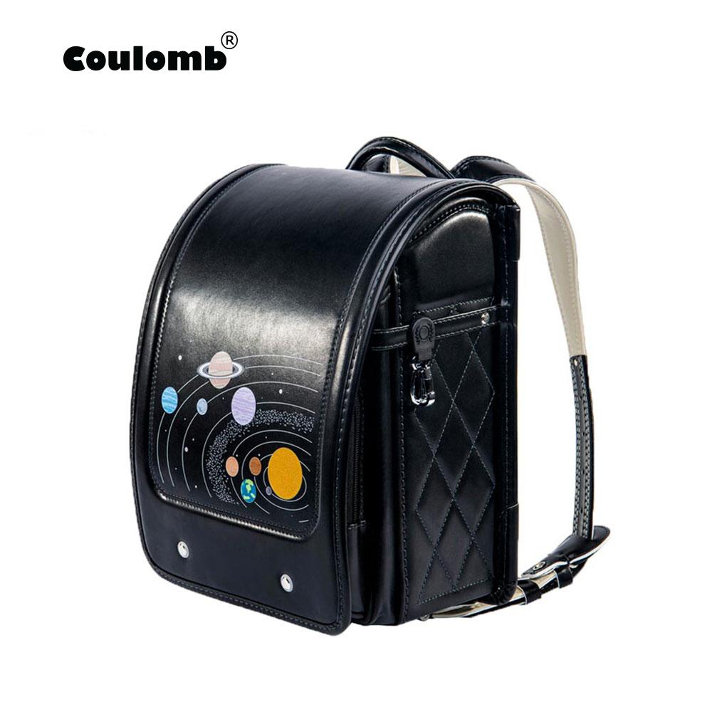Coulomb Children Black Backpack For Boy School Bag Hasp Character Orthopedic Randoseru Japanese Book Bags PU