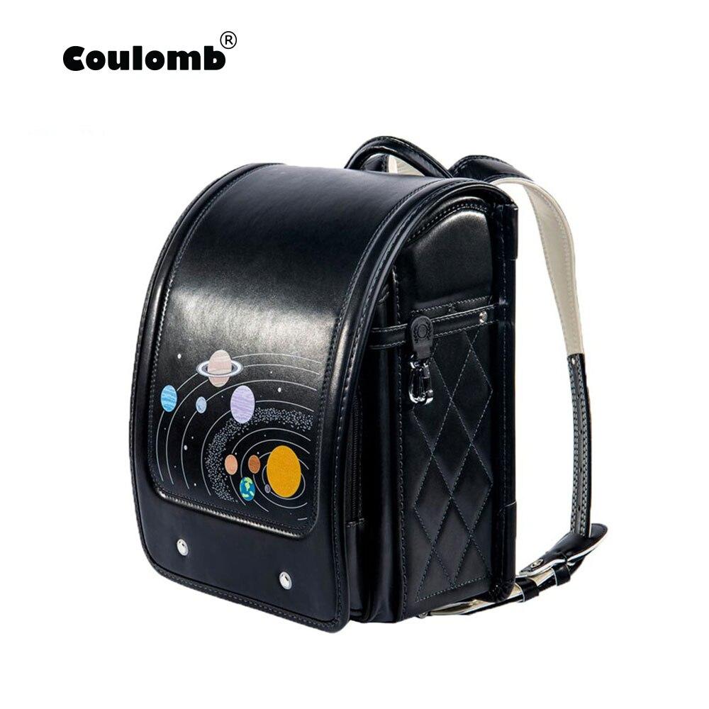 Coulomb Children Black Backpack For Boy School Bag  Hasp Character Orthopedic Randoseru Japanese Book Bags PU Kid Backpacks 2018