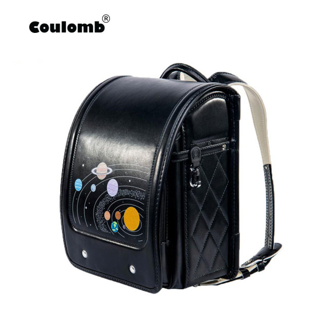 10345d10b71f Coulomb Children Black Backpack For Boy School Bag Hasp Character  Orthopedic Randoseru Japanese Book Bags PU Kid Backpacks 2018
