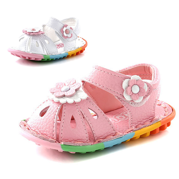 Sapatos de bebê moda flor princesa bebé sapatos de couro genuíno fechado do dedo do pé do bebê da criança verão sapatos meninas primeiro caminhantes