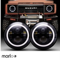 Marloo DOT 7 Inch LED Headlights Red Blue Green Amber White DRL Halo Ring For Suzuki Samurai SJ410 For Jeep Wrangler Jk