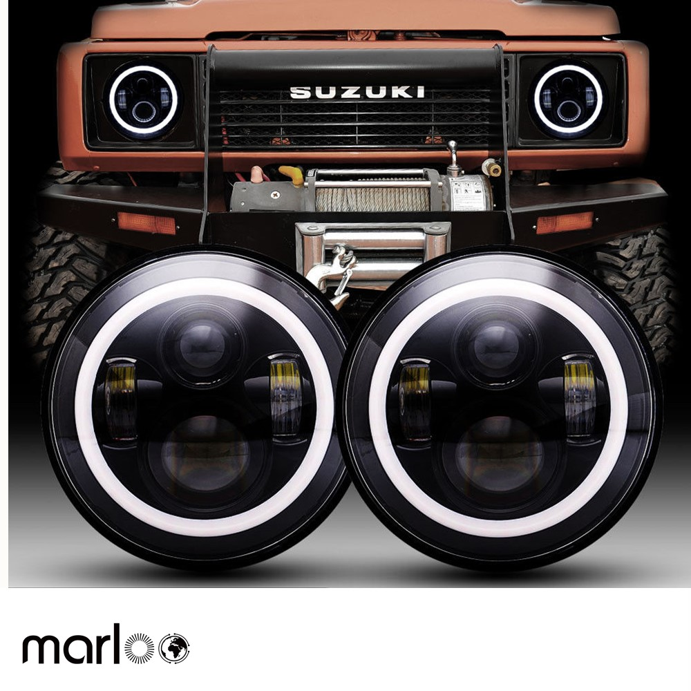 Marloo DOT 7 Inch LED Headlights Red Blue Green Amber White DRL Halo Ring For Suzuki Samurai SJ410 For Jeep Wrangler Jk