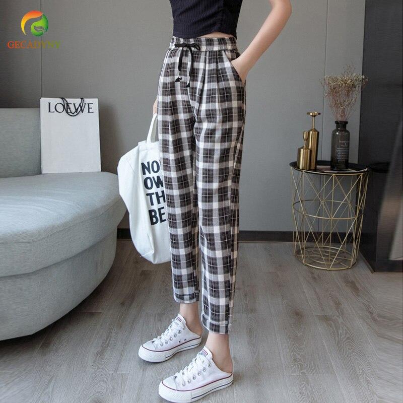 Women's   Pants   Fashion Summer Vintage Gray Grid Casual   Pants   Women Harem   Pants   Trousers Female Streetwear   Capris     Pants