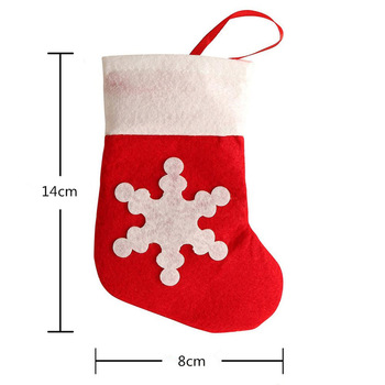 Urijk 5PCS Tableware Knife Snowflake Fork Holders Dinner Decor Red Sock New Year Christmas Decoration For Home Tableware Bags
