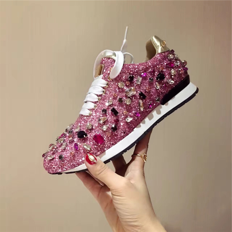 Prova Perfetto strass baskets femmes chaussures lacets Paillette sort couleur chaussures plates cuir casual chaussures zapatillas mujer - 5