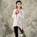 Retro Estilo Kimono Blanco Camisa Cuello Mao Manga Larga de la Rebeca Del Mantón Del Aire Acondicionado Camisa de la Manera de Las Nuevas Mujeres 2016