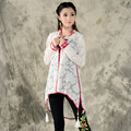 Retro Estilo Quimono Branco Camisa Mandarim Collar Manga Comprida Cardigan Camisa Ar Condicionado Xale Nova Moda Das Mulheres 2016