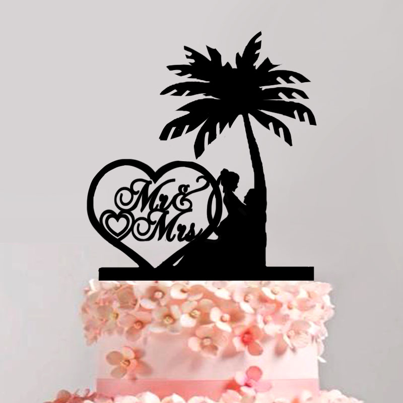 Bride And Groom Cake Topper Island Wedding Party Rural Love Story On