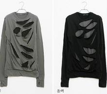 New Style Personalized Fashion Art Exaggerated False Two Peice Hole Design T shirt Long Sleeve Men