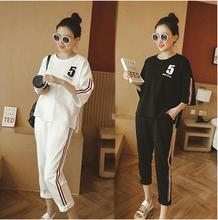 Summer Women's 2 Pieces Set Short Sleeve Print Tops+Pants  Casual Fashion Female Tracksuit Lady SportWear Suit Plus Size M-2XL