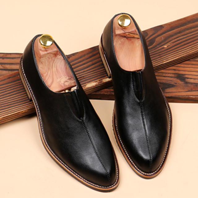 Man Shoes Nice New British Casual Leather Shoes Men Contracted Pointed Toe  Business Shoes Men Loafers Fashion Men Dress Shoes