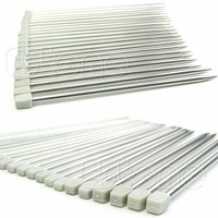 Free Shipping Stainless Steel 22Pcs Single Pointed Knitting Needles Tool 11 Sizes 14 36cm New