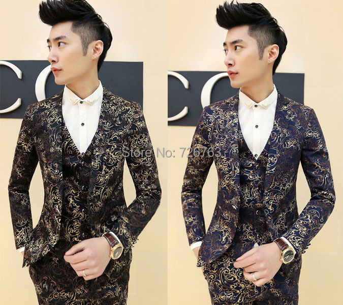 New Menu0026#39;s Stylish Funky Swirl Floral Premium Skinny Fit Tuxedo Casual Suit Blazer Coat-in ...