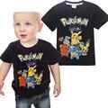 2017New Pokemon Pikachu T-Shirt Dos Meninos Camisetas de Verão Para Meninos Dos Desenhos Animados de Algodão Casuais Crianças T-Shirt do Menino Roupas Crianças Roupas