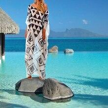 Plus size Beach Cover up Chiffon Dress Saida De Praia Beach Kaftan Robe de Plage  Bikini Cover up Tunics for Beach Pareos