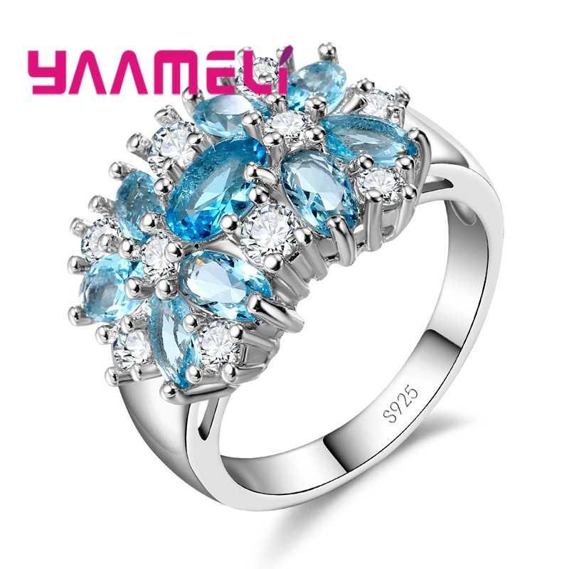 高級女性の結婚式/婚約 Jewlery リング 925 サーシルバーフラワークリスタル設定 Anillo 販売のため