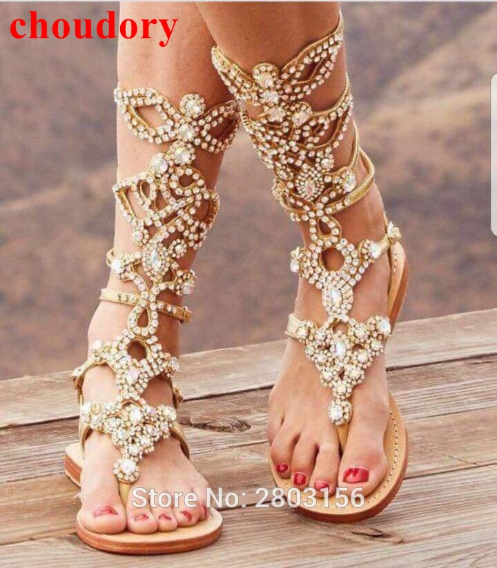 Fashion Rhinestone Knee High Buckle Strap Flat Gladiator Sandals Bohemia Style Crystal Summer Boots Shoes Sexy Beach Shoe brand designer faux leather strappy roman goth gladiator thong lace up bandage sandals knee high boots flat shoes free shipping