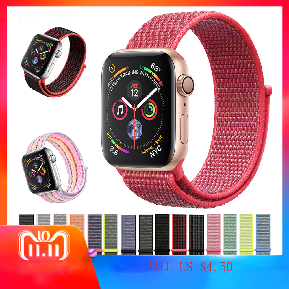 Sport Loop strap For Apple watch 4 band iwatch 3 2 1 42mm 38mm 44mm 40mm woven nylon Lightweight Breathable bracelet wristbelt sport loop for apple watch band case 42mm 38mm nylon watch strap bracelet with metal frame protector case cover for iwatch 3 2 1