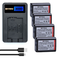 4x NP FW50 NPFW50 NP FW50 Battery LCD USB Charger For Sony NEX 5 NEX 7
