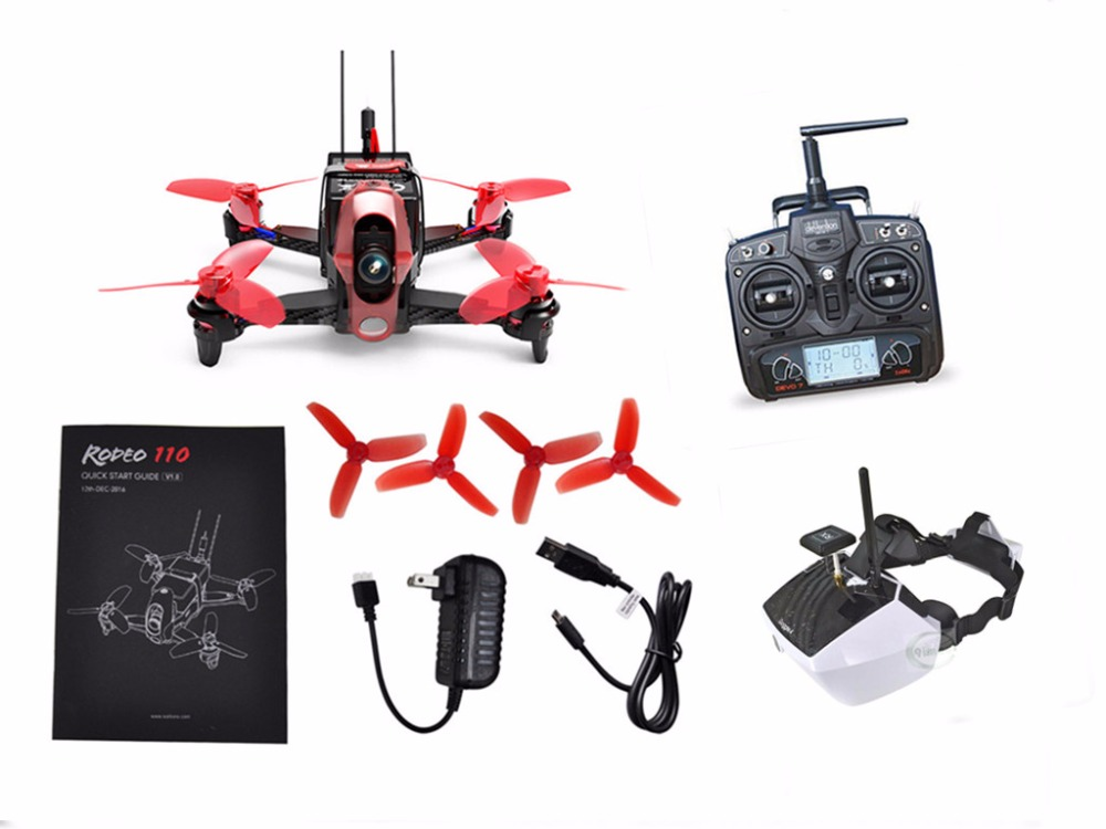 Walkera Rodeo 110 110mm RC FPV Mini Quadcopter Racing Drone RTF BNF DEVO 7 DEVO 10 Transmitter 600TVL Camera Goggle2 Goggle4 walkera rodeo 150 bnf without transmitter rc racing drone with 600tvl night vision camera 150 size