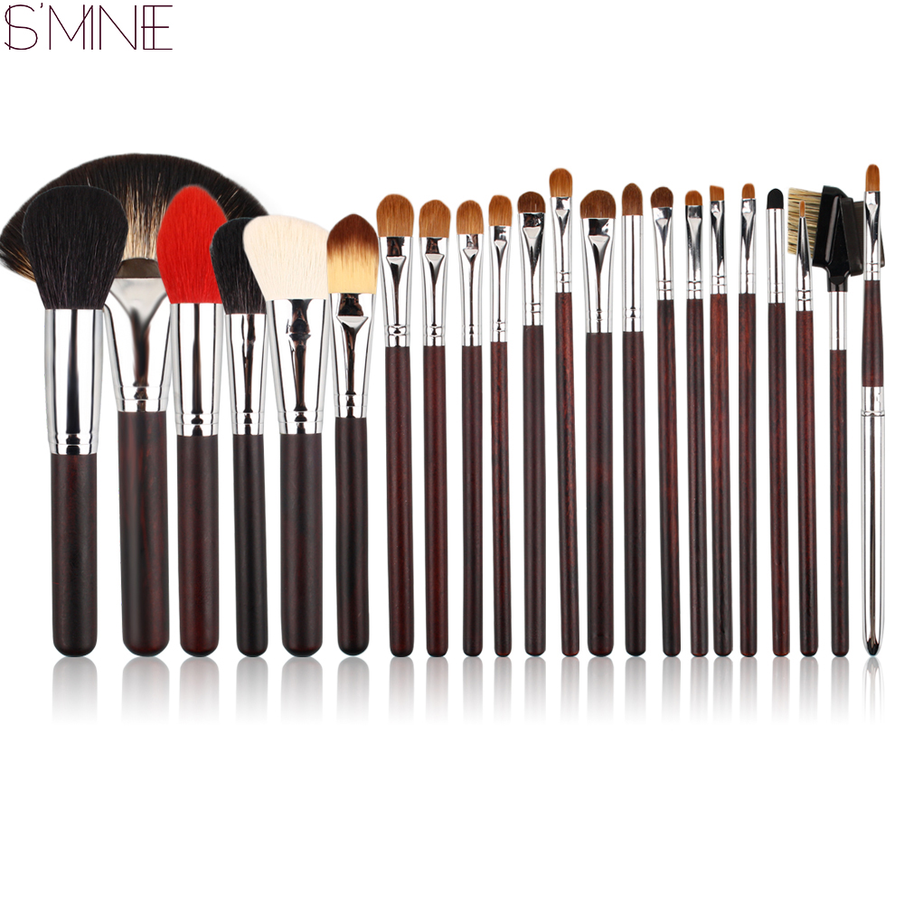 ISMINE 22 Pcs Makeup Brushes Set Bristle/Goat Hair Professional Cosmetic Brushes Kits Make Up Brush Tools Wood Handle with Bag makeup brushes tool set 29pcs professional makeup tools accessories goat hair cosmetic with black leather cosmetic case