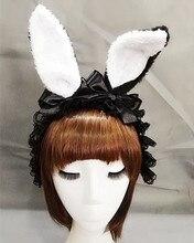 Gothic Lolita Women Bunny Rabbit Ear Alice Headband Hairband Party Club Rose Ribbon Hair Band Fancy Dress Handmade