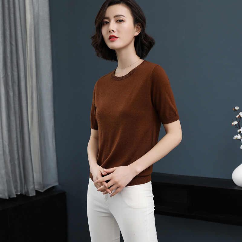 Zocept mujer Casual de punto de manga corta suéter primavera otoño verano cachemir mezclado cuello redondo Color sólido jerseys