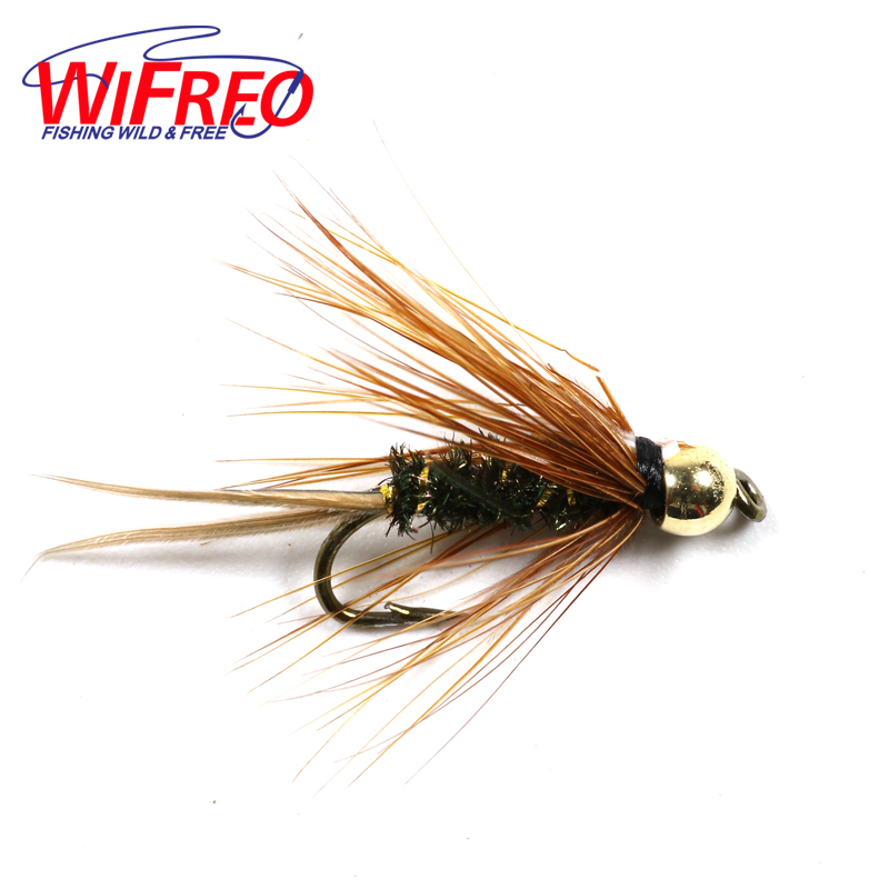 Wifreo 10PCS Free Box 10# Brass Goldhead Trout / Grayling Fishing Flies Wet Fly Bead Head Prince Nymph wifreo 84pcs assorted nymph flies combo set trout fishing fly with ultra thin fly fishing pocket box size 14