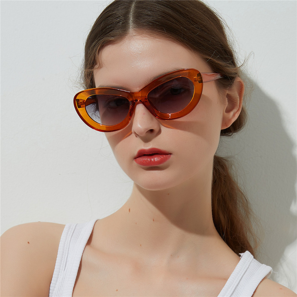 a93f41404231 Women Men Trendy Candy Color Cat Eye Sunglasses Personality Cosy ...