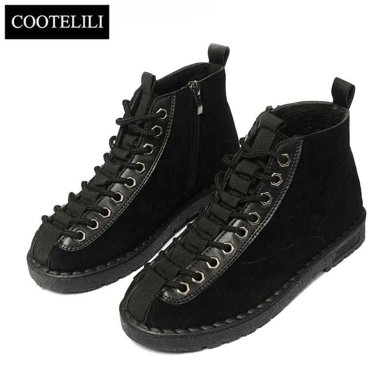 COOTELILI Kış Ayakkabı Kadın Kauçuk yarım çizmeler Kadınlar Için Siyah Temel Moda Dantel Up Peluş Çizmeler Kadın Kadın Ayakkabı Düz