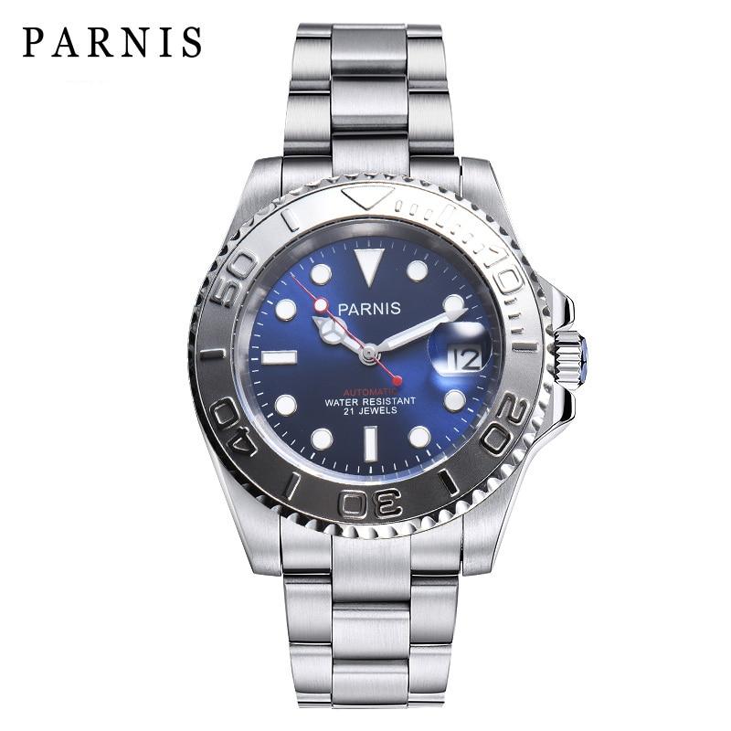 2018 milímetros Parnis 40 Data Homem Relógio Apenas Miyota 8215 Cristal de Safira Mecânico Automático Relógios À Prova D' Água Relogio masculino