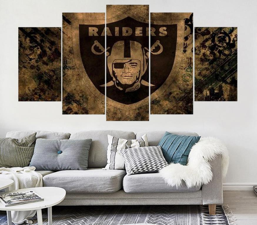 5 Pc Set WIithout FRAME Wall Art Decorations Sports Football Team Logo Oil Painting Canvas For Living Room