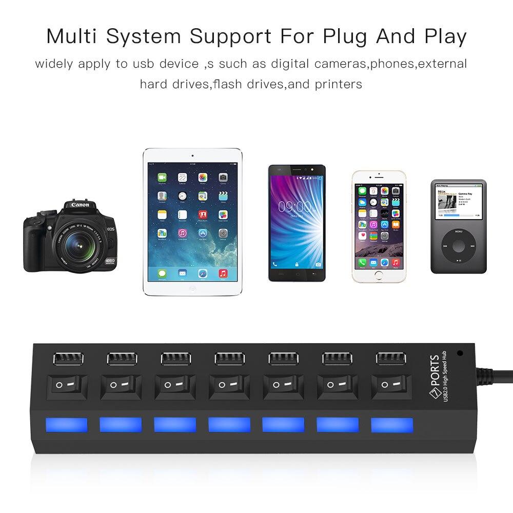 Image 4 - Высокоскоростной usb хаб 2,0 480 Мбит/с 7 портов микро концентратор USB вкл. Переключатель USB сплиттер адаптер для ПК ноутбука компьютера usb хабКабели передачи данных    АлиЭкспресс