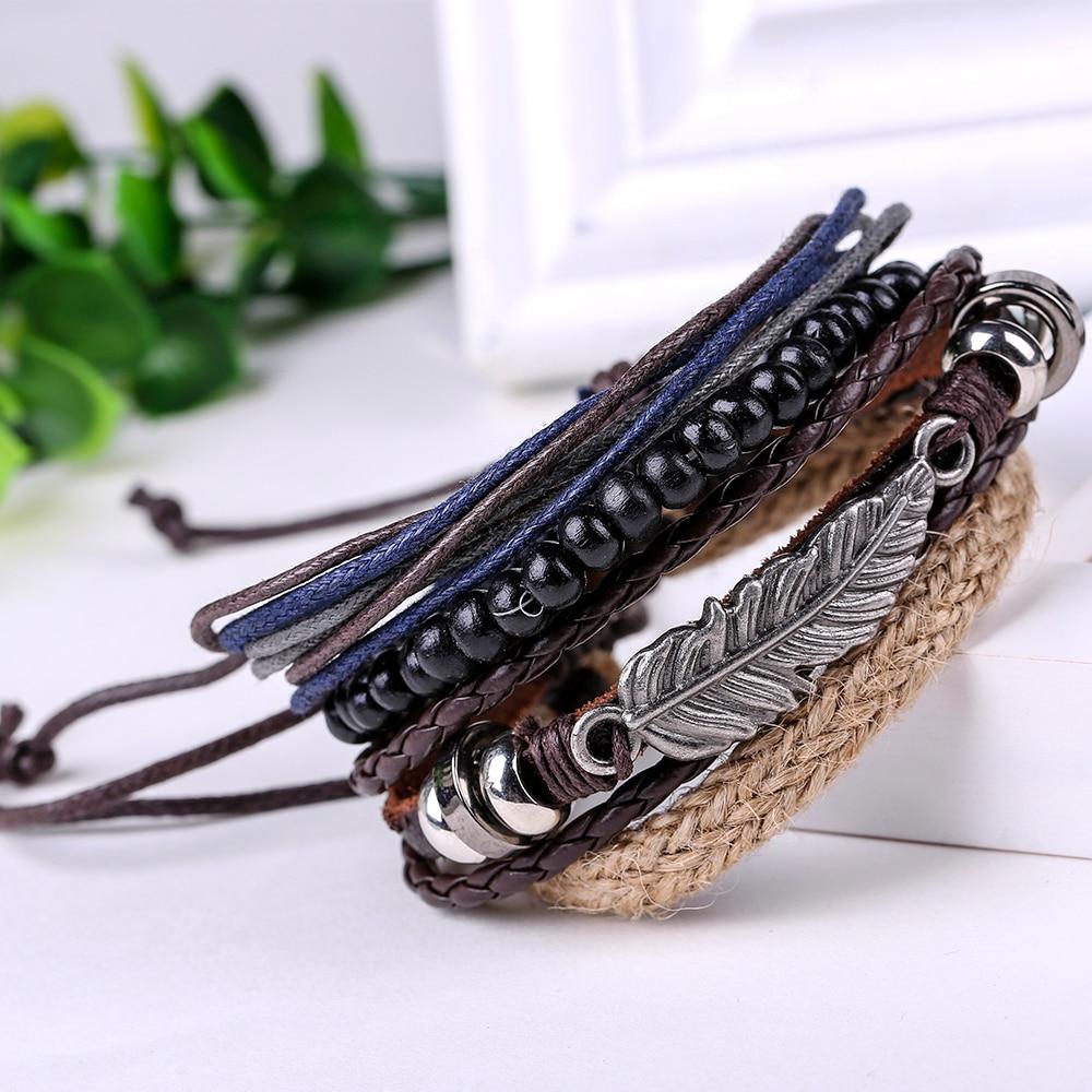 Spinner Hot 4pcs 1 Set Punk Genuine Wrap Angel Wings Feather Leather Bracelets  Men For Women