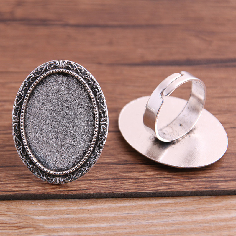 4pcs Fit <font><b>18x25mm</b></font> Glass <font><b>Cabochons</b></font> Antique Bronze/Silver color Plated <font><b>Oval</b></font> Adjustable Ring Settings Blank/Base 4.9g P6485 image