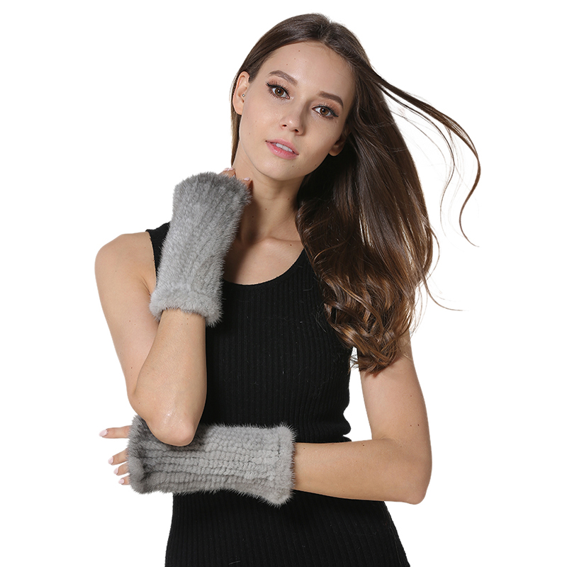 2017 Real Mink Fur Gloves Knitted Women s