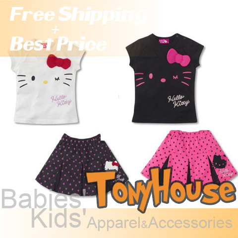 2013 Branded New Cartoon Hello Kitty 2 PC dress Skirt Set Chiffon Skirt&Short Sleeve T-shirt Suit Free Shipping