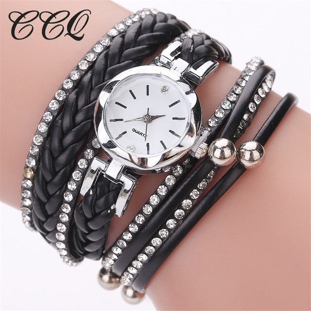 Black Leather Bracelet Watch CCQ Fashion Casual Analog Quartz Wristwatches Women