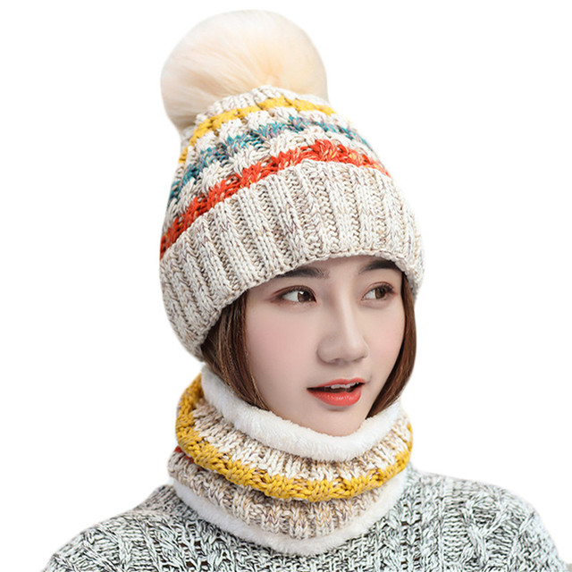 Woman Knitted Beanie Hat and Scarf Set Fox Fur Pompom Hats Female Thick Hat  2pcs Winter Warm Cute Girls Fashion Cap Collar Suit 26cfbf7fae9