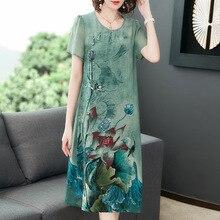Vestido de seda para mujer verano nuevo vestido ajustado de manga corta con estampado retro talla grande L-5XL de alta calidad elegante y cómodo vestidos