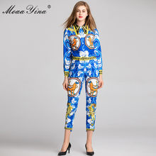 MoaaYina 2018 Fashion Designer Set Spring Women Abstract Geometric Print  Blouse+Asymmetrical 3 4 Pencil pants Two-piece suit b68878558ed1