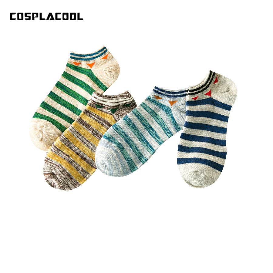 [COSPLACOOL]Men's Boat Socks Personality Trend Socks Spring/summer New Striped Sokken Harajuku Calcetines Hombre