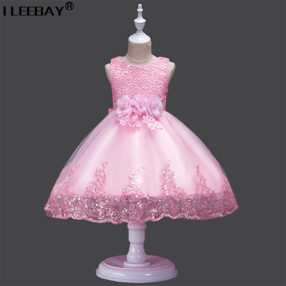 High Quality Flower Girl Dress For Wedding Party Baby Princess Embroidery Sleeveless Lace Vestido Girls Tulle White Tutu Dress